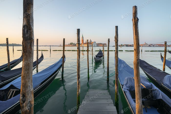 Moored gondolas in the morning