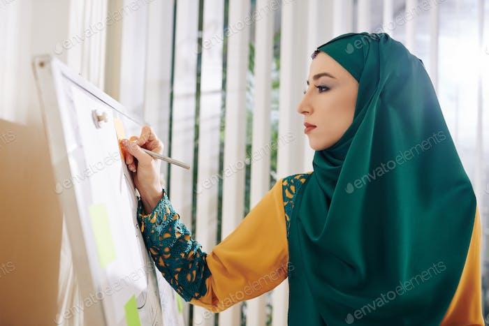 Mujer de negocios musulmana que escribe en pizarra