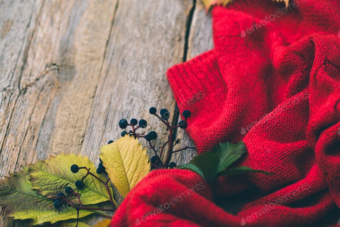 Autumn leaves and knitted sweater on a wooden background