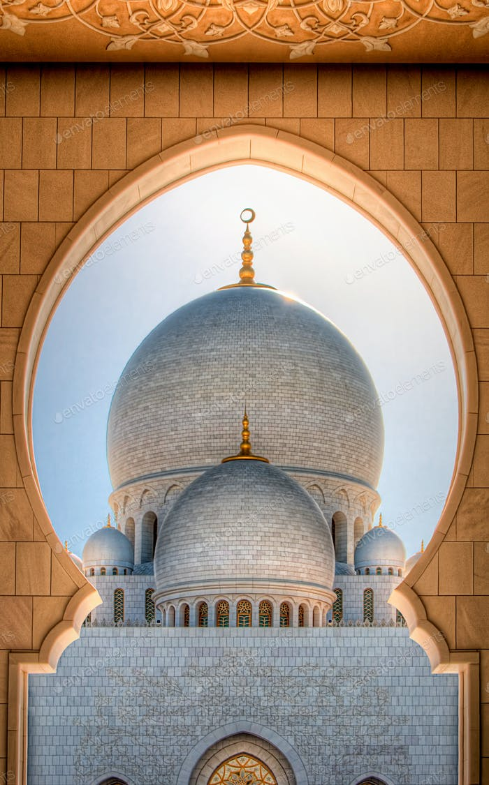 Detail view at Dome of Sheikh Zayed Grand Mosque, Abu Dhabi, United Arab Emirates