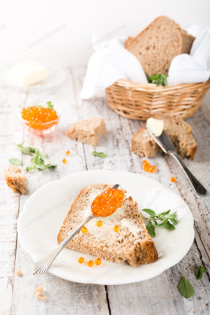 Open sandwich with red caviar