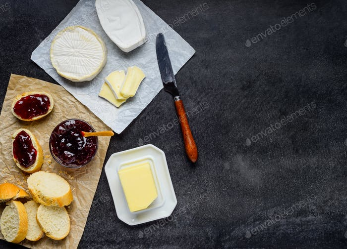 Brie Cheese with Bread and Jam