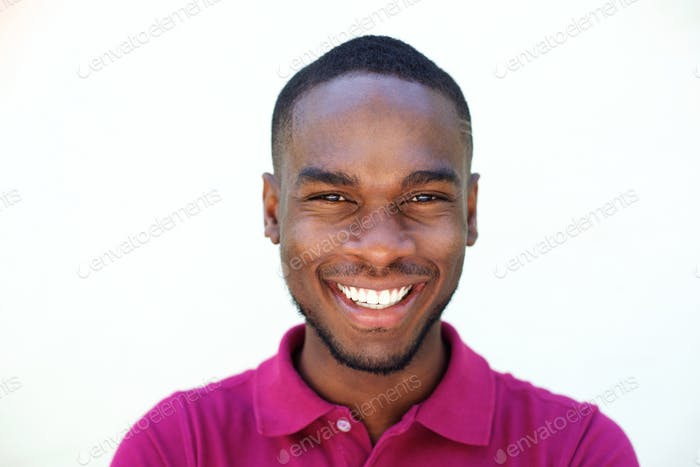 Close up smiling young african american man