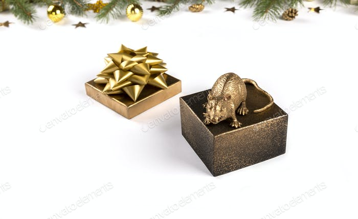 Festive card. Symbol of New Year 2020 gold metal  Rat