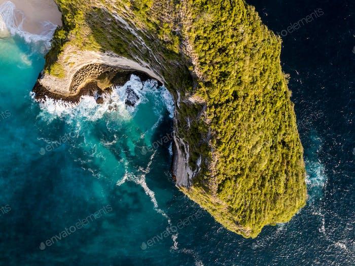 Views of Kelingking beach cliffs. Nusa Penida Island