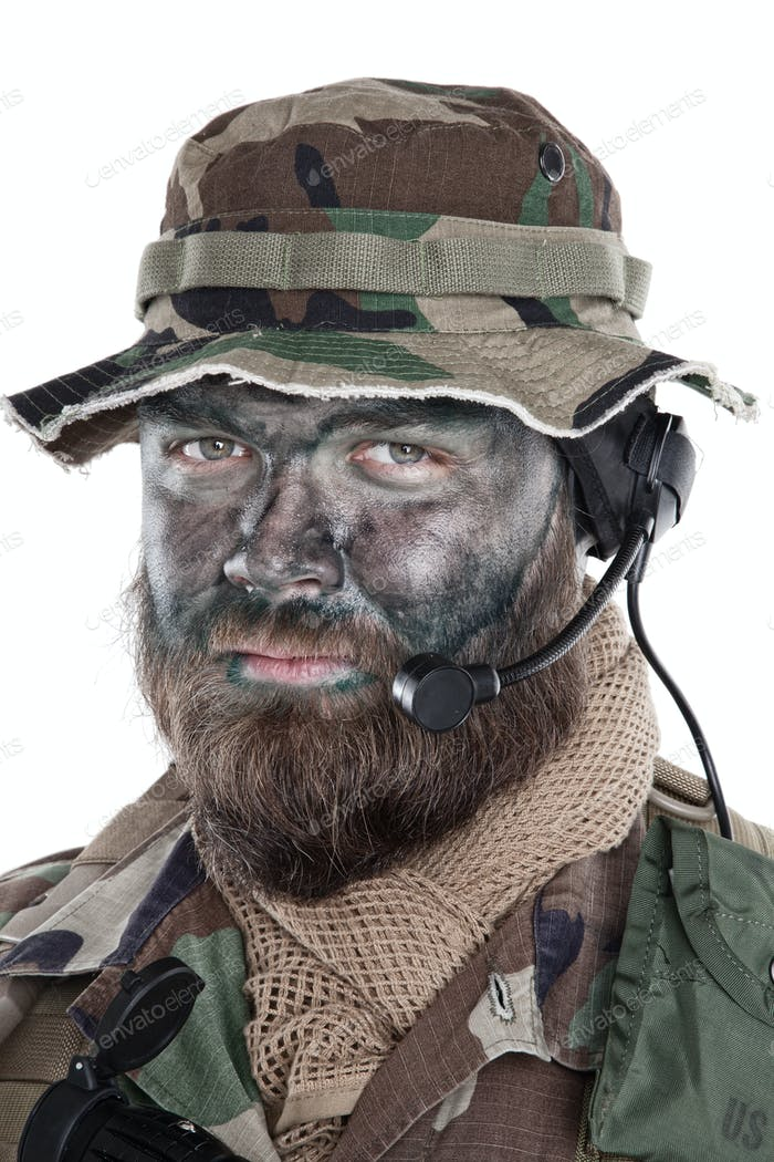 Commando soldier isolated shoulder studio portrait