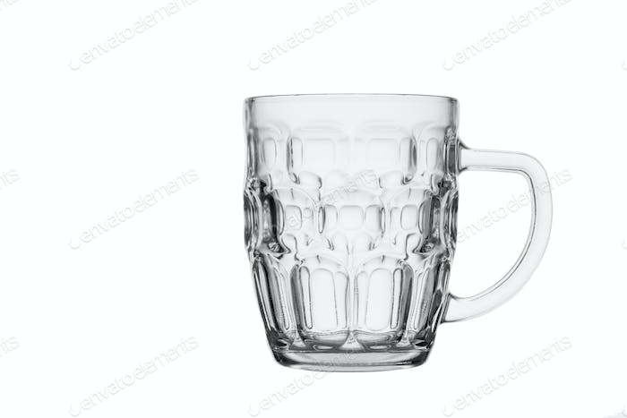 Empty beer glass. Isolated in a white background. Close-up.