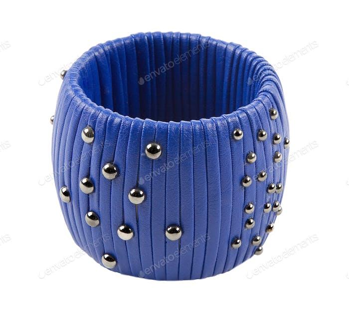 Studded blue leather bracelet