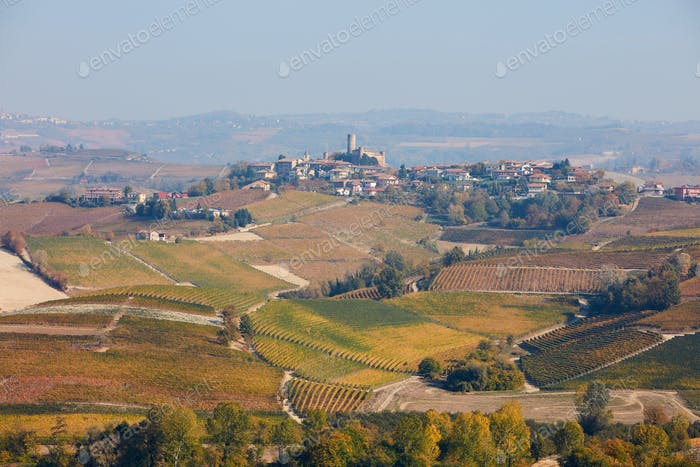 Serralunga d'Alba town on the hill surrounded by vineyards in Italy