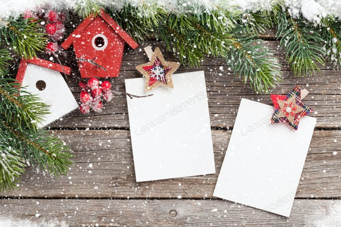 Christmas blank photo frames and fir tree