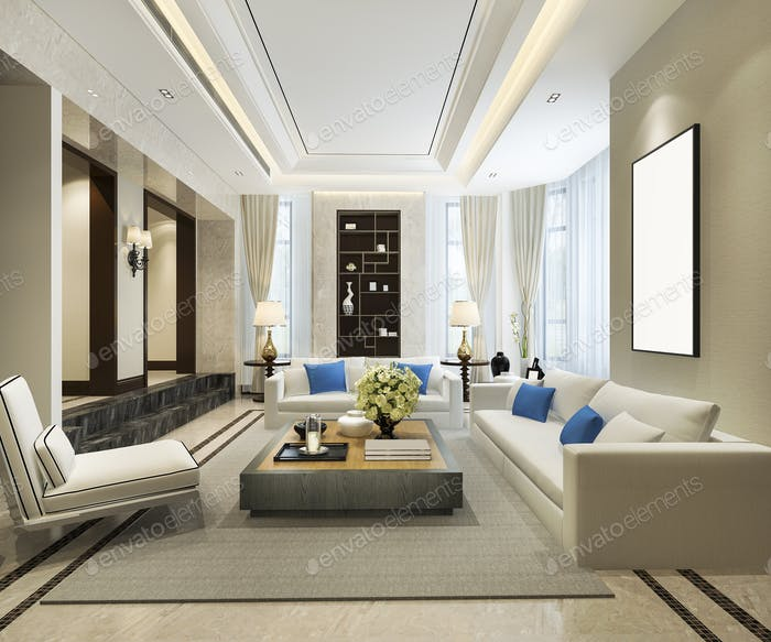 3d rendering classic shelf living room with luxury decor