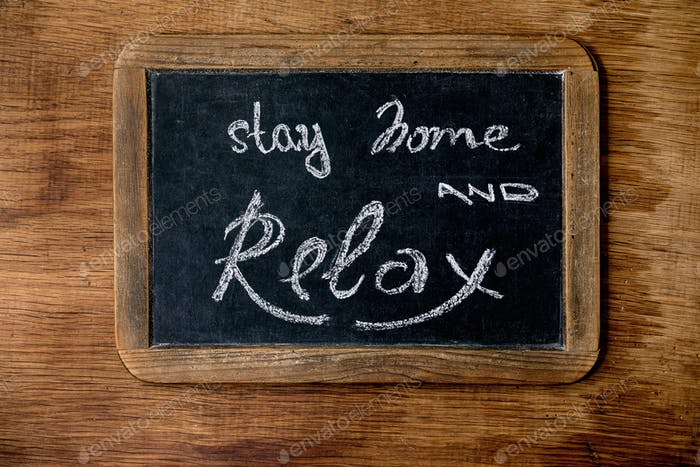 Stay home and relax lettering
