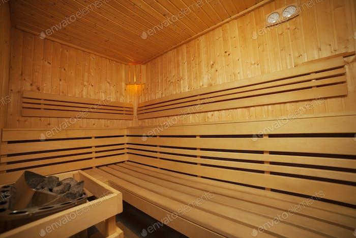 Interior of wooden sauna bath