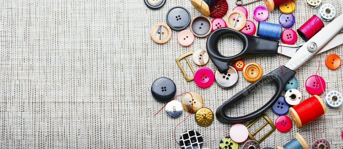 Set sewing accessories,flat lay