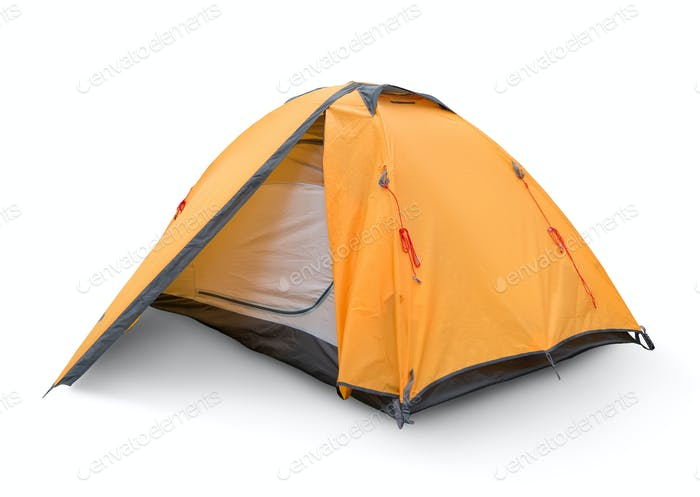 Gelbes touristisches Zelt