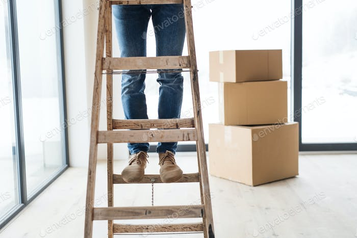 A midsection of man with cardboard boxes standing on a ladder, furnishing new house.