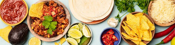 Concept of Mexican food, flat lay, blue background