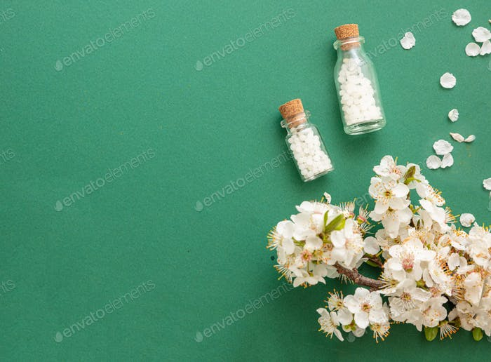 Homeopathy, almond fresh blooming twig and globules pills on green background