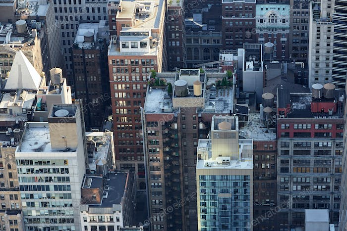 New York City Manhattan skyline aerial view with skyscrapers roof tops