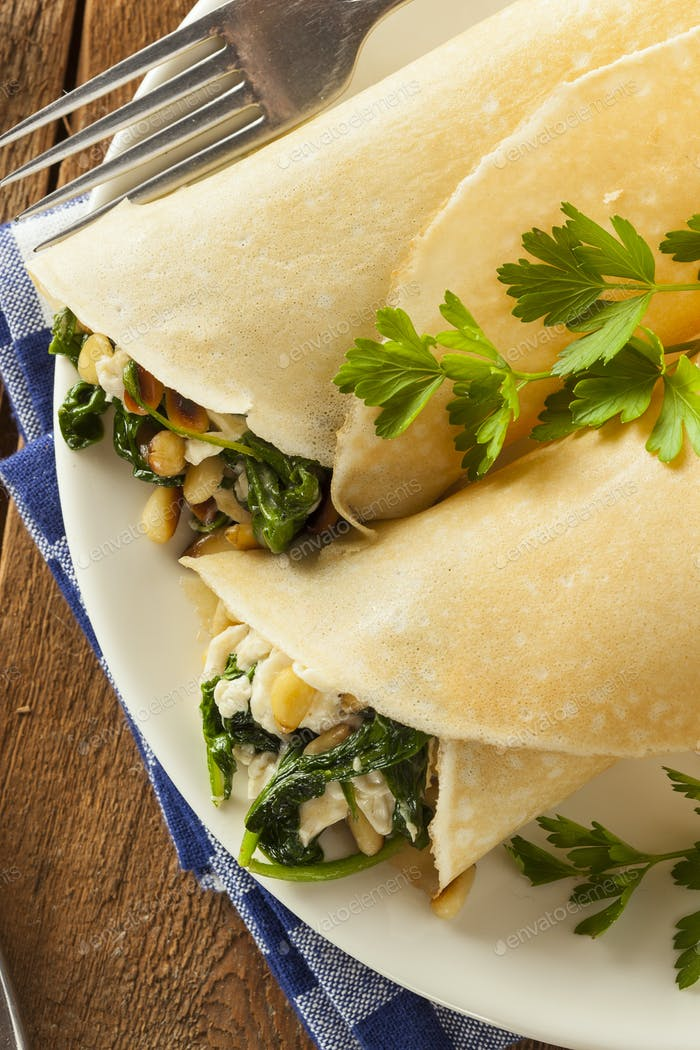 Delicious Homemade Spinach and Feta Savory French Crepes