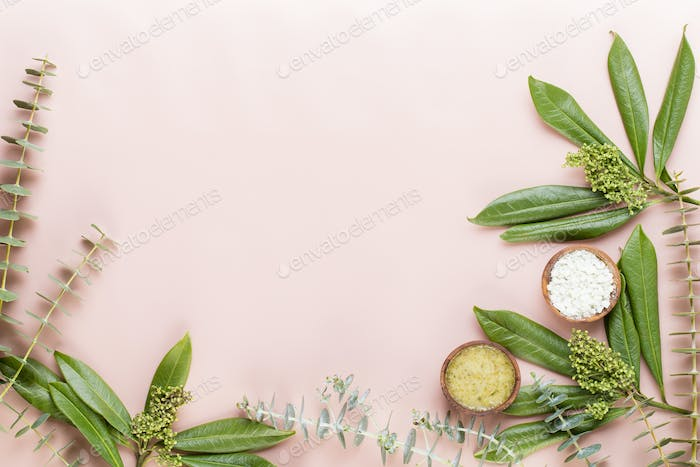 Bio herbal green cosmetic arrangement, sea salt and handmade cosmetic.