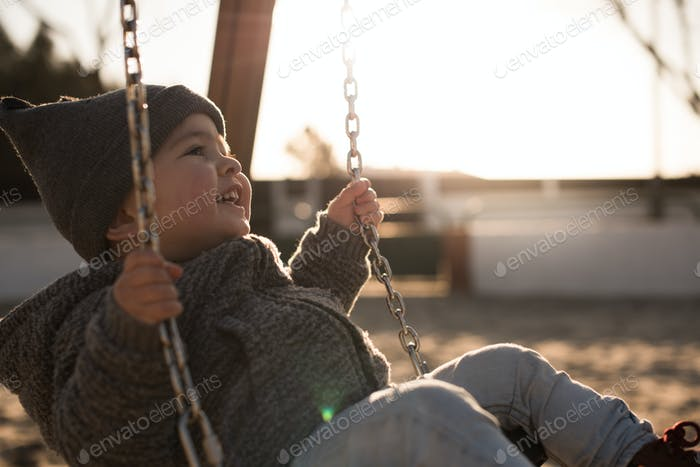 Toddler on a swing seat