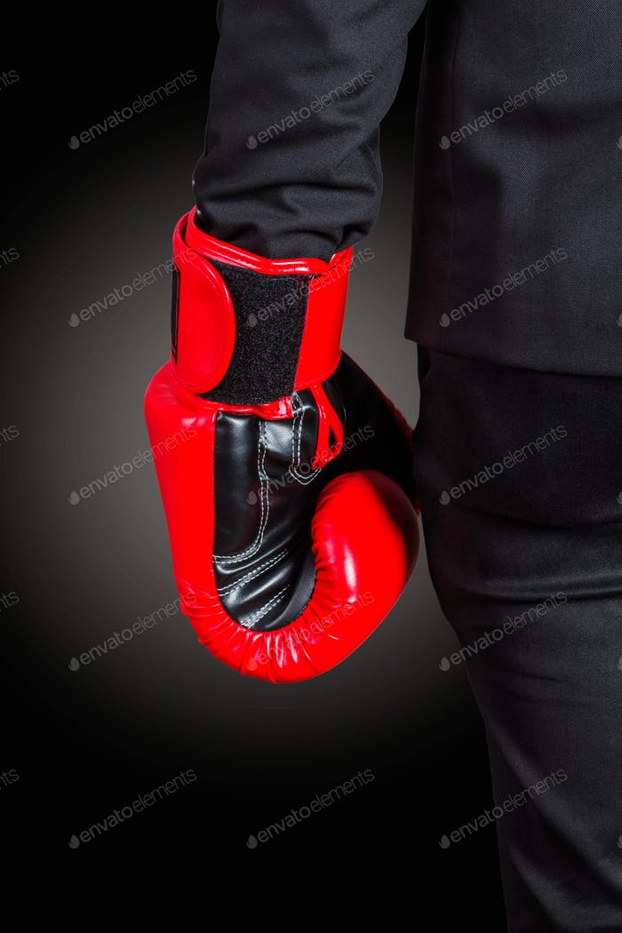 Hands of boxing gloves