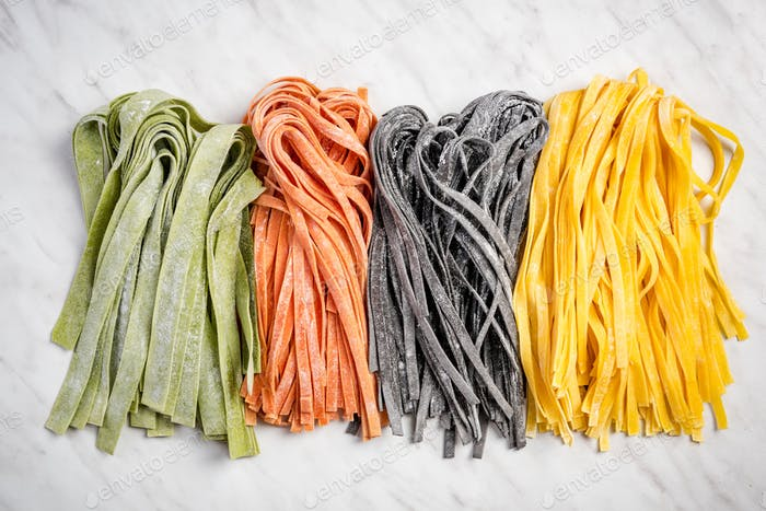 Variety of fresh raw homemade pasta