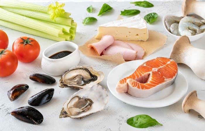 Assortment of Umami foods
