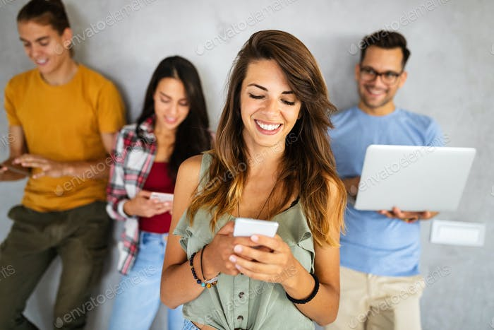 Group of happy friends, people smiling and connected by digital devices