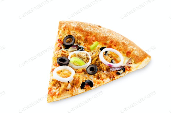 Pizza with tuna, olives, green pepper and red onion isolated