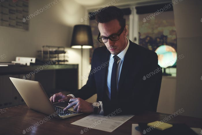 Businessman working concentrated