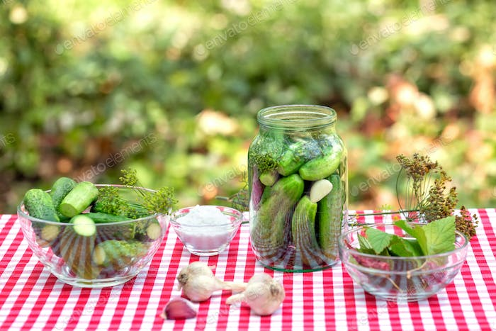 Cucumbers and spices for preservation