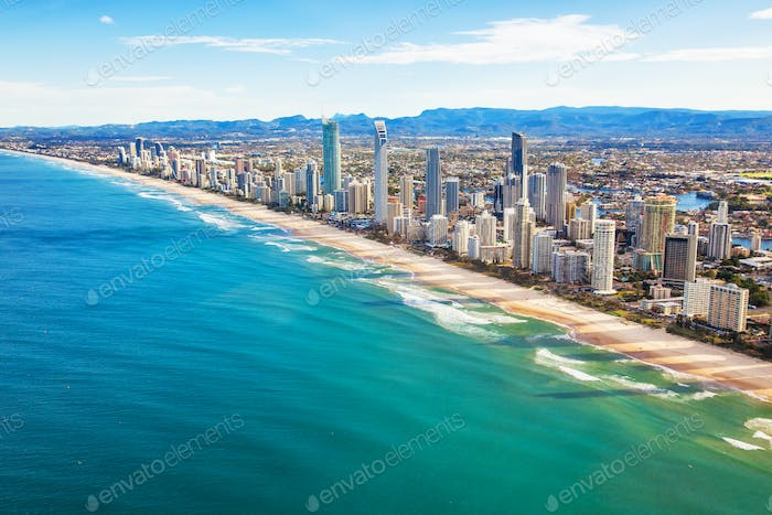 Aerial view of Surfers Paradise, the Gold Coast, Queensland, Aus