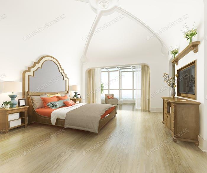 3d рендеринг кривой купол старинные спальни люкс в курортном отеле и курорте