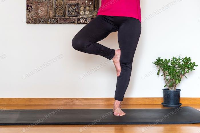 Frau mittleren Alters praktiziert Yoga, Baum-Pose.