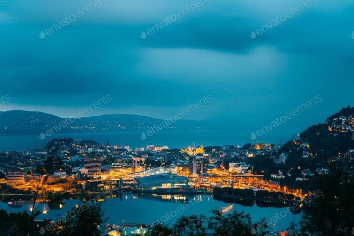 Bergen, Norway. Panoramic View Cityscape Of Bergen And Harbor Fr