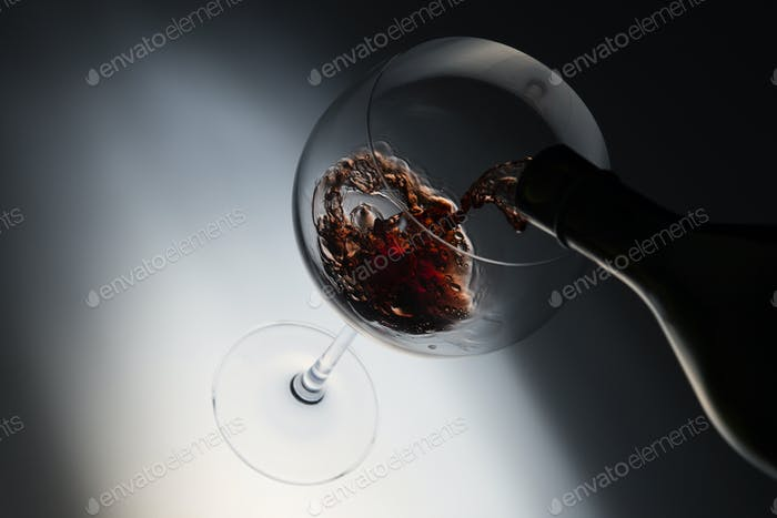 red wine in tasting glass