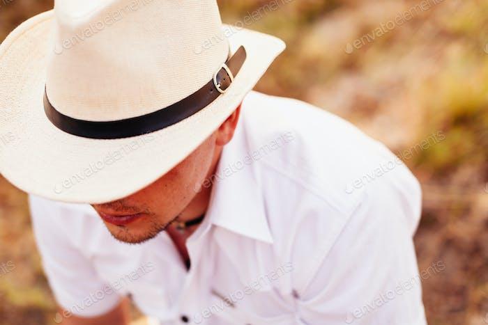 cowboy man in hat top view