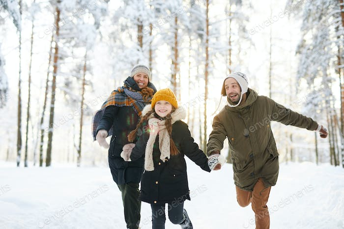 Carefree Family Enjoying  Winter