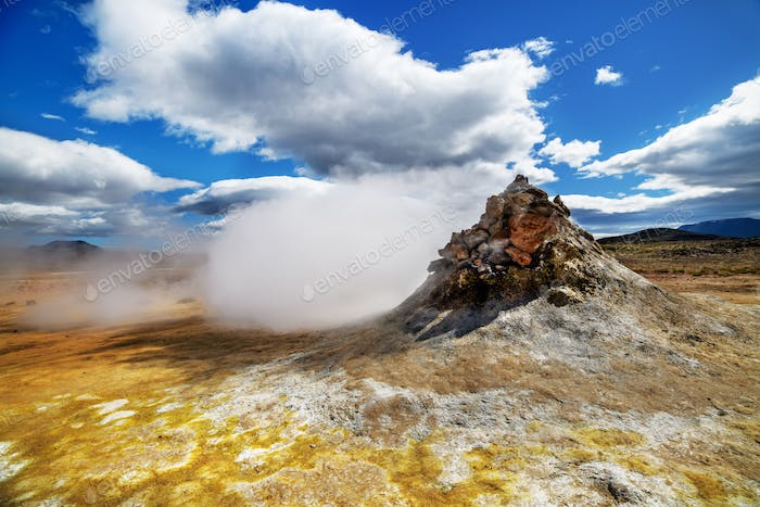 Volcanic steam vent in a beautifil Iceland landscape.