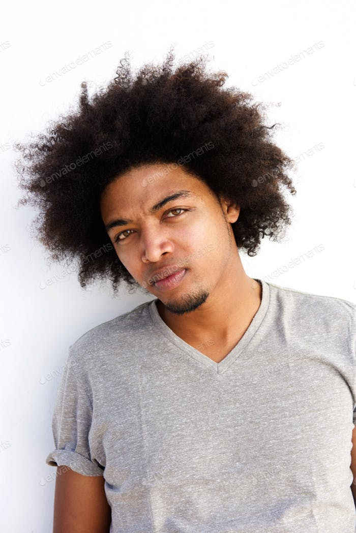 Cool male fashion model with afro
