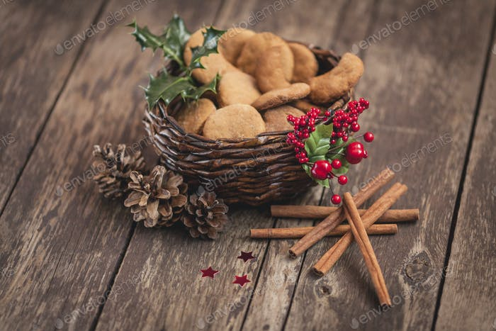 Shortbread cookies in lovely basket