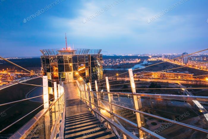 Minsk, Belarus. Observation deck on National Library Building. C