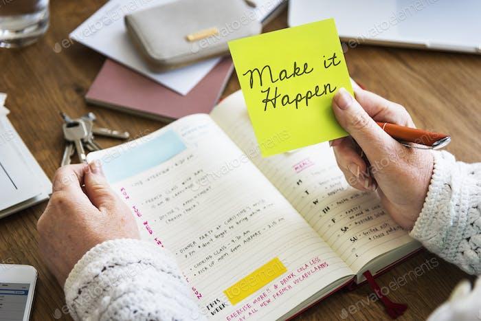 Make It Happen Diary Concept