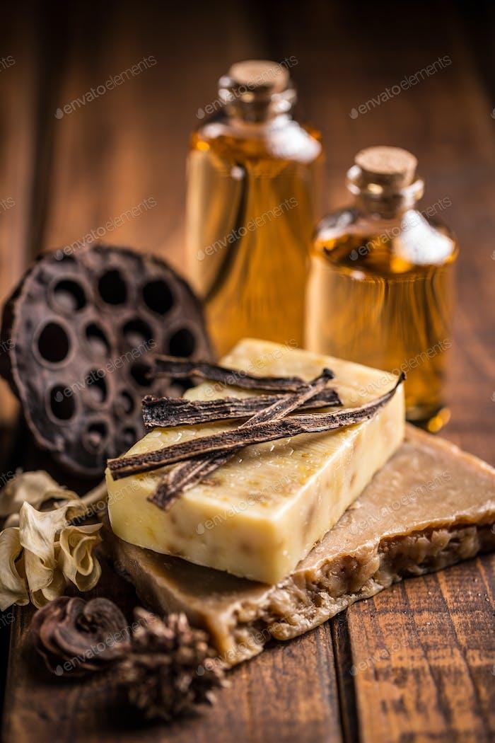 Handmade soap with vanilla