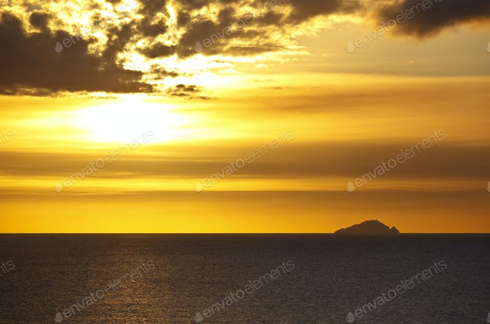 Caribbean Sunset With Ash Cloud, Antigua
