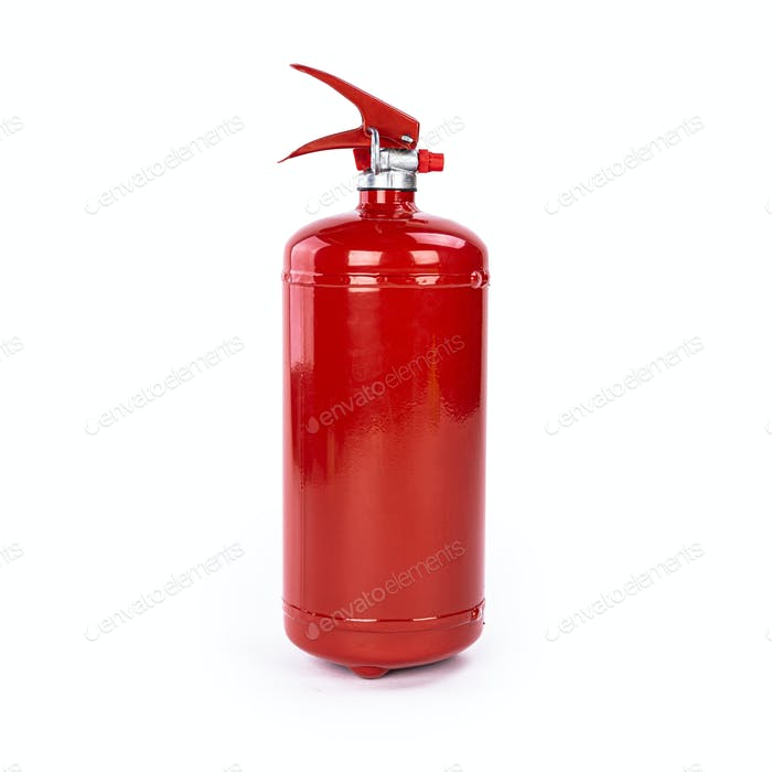 Red extinguisher over white background