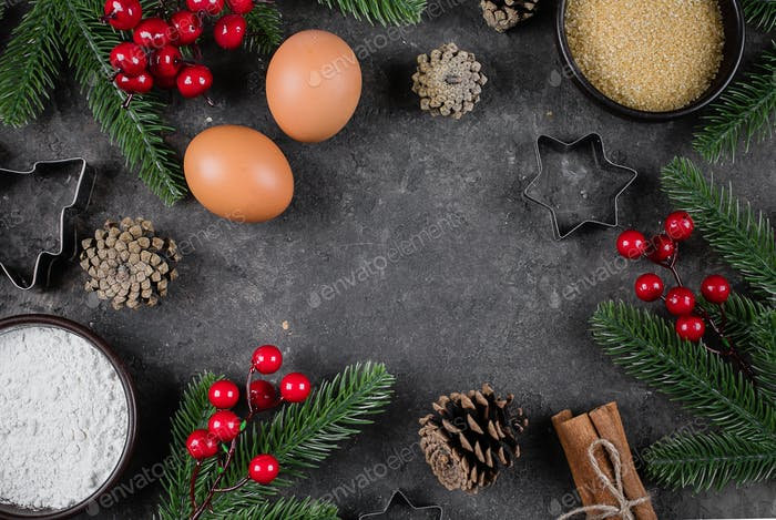 Christmas Food Bakery Concept. Ingredients for cooking christmas baking - flour, brown sugar, eggs