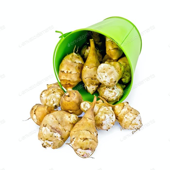 Jerusalem artichoke pours of green bucket